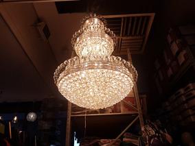 Lustre Grande 1.45m Cristal K9 E Metal Dourado Pesso 88 Kilo