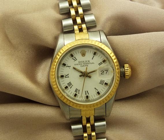 Rolex Feminino Aço E Ouro 18k Oyster Perpetual Date Mostrador De Safira Relógio De Pulso Automatico Calendario J17299