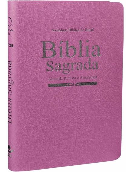 Bíblia Sagrada - Média Rosa Luxo Almeida Revista E Atualiza