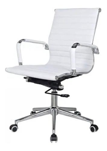 Imagen 1 de 2 de Silla de escritorio Mobilarg Aluminium Bajo  blanca con tapizado de cuero sintético