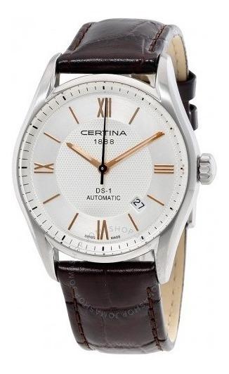 Relógio Certina Automático C0064071603800 Ds1 Marrom Couro