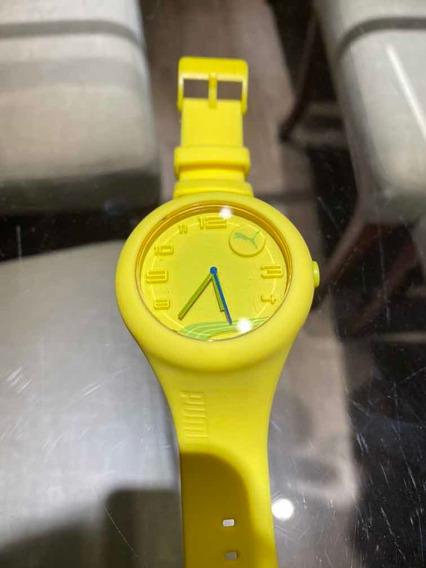 Relógio Puma Pulseira De Borracha Amarela.