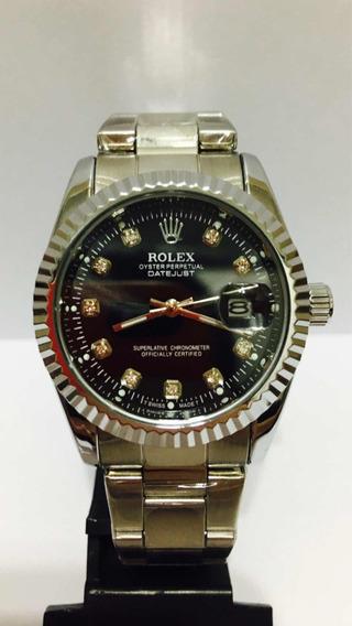 Relógio Date Just Silver Black + 2 Baterias De Brinde!!!