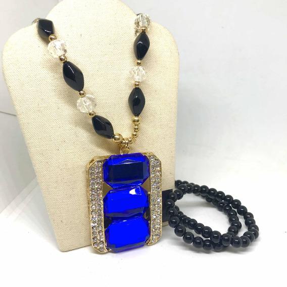Collar Largo Azul Moda Dama Envío Exprés