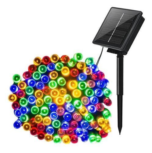 Imagen 1 de 2 de Serie De 100 Luces Led Navideñas Solares 12 Mts Multicolor