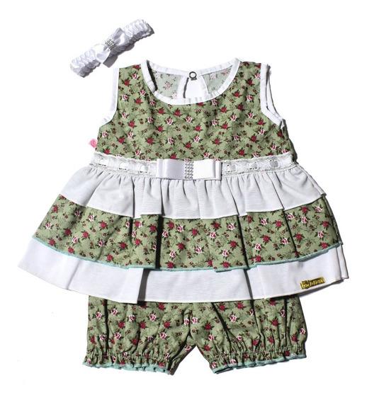 Conjunto Vestido Com Bermuda E Faixa Bebes De 3 A 6 Meses
