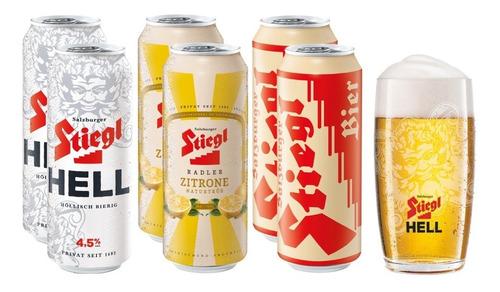 Imagen 1 de 5 de 6 Pack De Cervezas Austriacas Stiegl + Vaso Hell