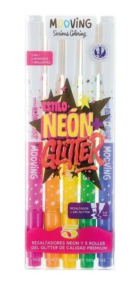 Resaltador Colores Neon + Roller Glitter 0,8mm Mooving X5