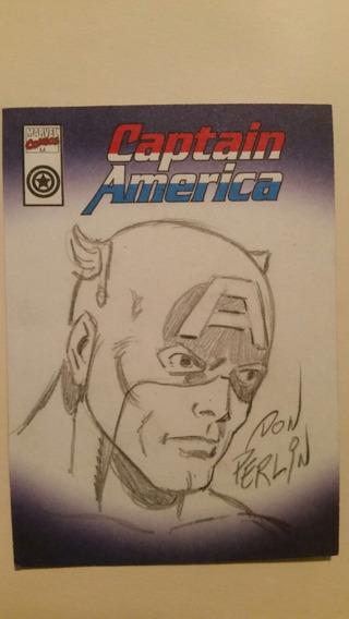 Tarjeta Coleccionable Capitan America Dibujada A Mano