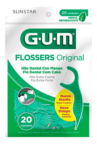 Hilo Dental Gum Con Mango Flossers Original Menta X 20 Un