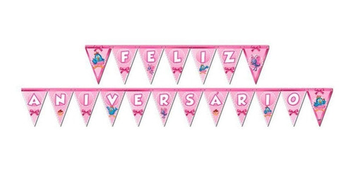 Faixa Feliz Aniversário Galinha Pintadinha Rosa