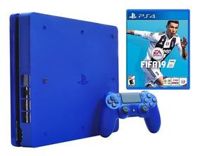 Ps4 1tb Slim Edición Lim Azul+fifa 19 Fisico Loc A La Calle