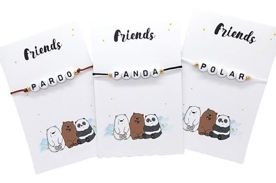 Pulseras Amigos Escandalosos Pardo Panda Polar Ajustable