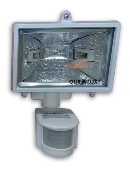 4 Refletor Branco Halogena Sensor 100w A 150w Com 8 Lâmpadas