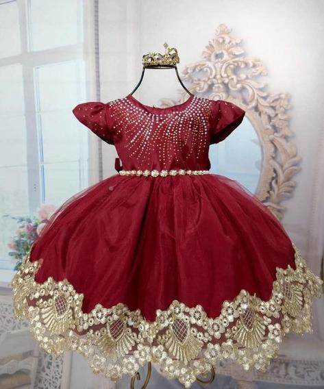 Vestido Infantil Marsala De Luxo