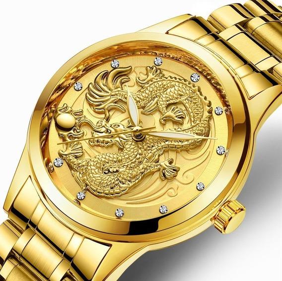 Relógio De Pulso Luxo Masculino Fngeen Dourado Jóia Fashion