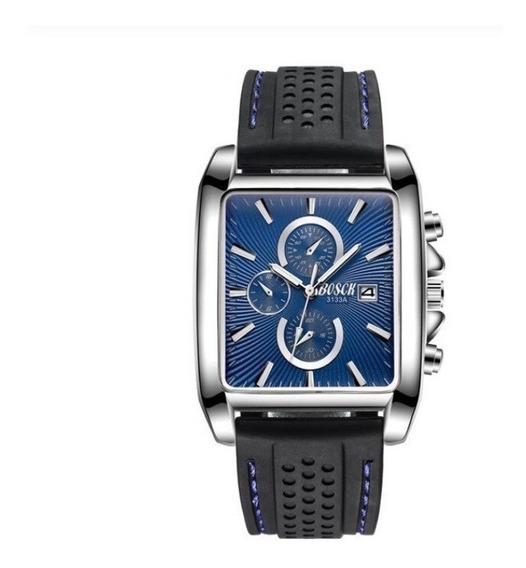 Relógio Barato Quartz Bosck Masculino Quadrado Pulseira P U