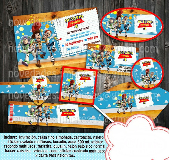 Kit Imprimible Invitacion Toy Story Candy Bar Editable