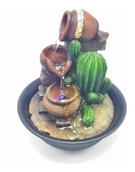 Fuente De Agua Cactus Cascada Jarrones Zen Con Luz C/ Bomba
