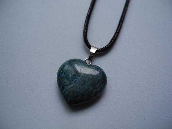 Gargantilha Coração Azul Pedra Natural Cordão Preto Colar