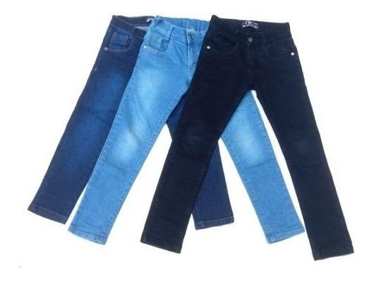 Kit C/4 Calças Jeans Infantil Feminina Do 2 A16 Anos Lindas