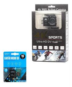 Câmera Go Cam Pro 4k Sport Wifi Prova Dágua + Cartão 16 Gb