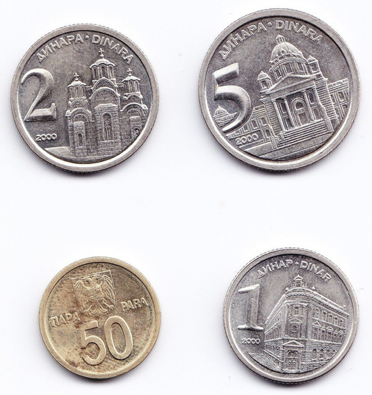 Yugoslavia Set 4 Monedas 1, 2, 5 Dinara Año 2000 Niquel Unc
