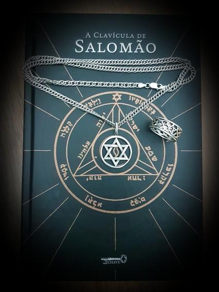Anel + Corrente + Pingente + Livro A Clavícula De Salomão