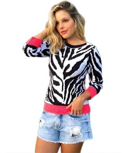 Blusa Feminina Tricot Tricô Estampa Coração Crochê