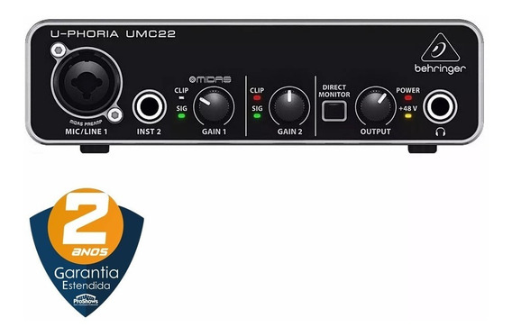 Placa De Áudio Behringer Umc22 Interface U-phoria