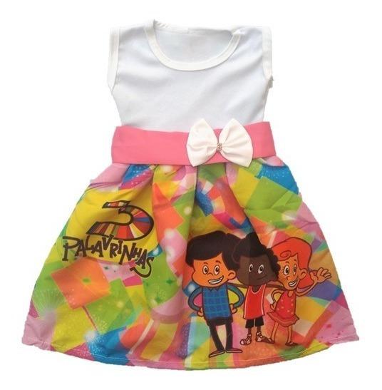 Vestido Infantil Festa 3 Palavrinhas Gospel Roupa/fantasia