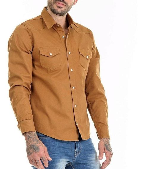 Camisa Jeans Premium Caramelo Masculina Slim Fit Top Offert