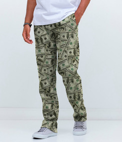 Calça Moletom Básica Cargo Dinheiro Cash Money Dollar Swag