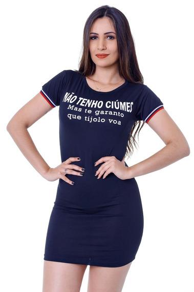 Vestido Curto Zigma Frase Preto