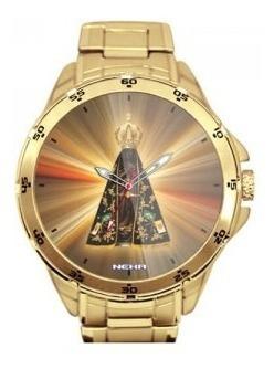 Nossa Senhora Aparecida Pôr Do Sol Relógio Dourado 5776