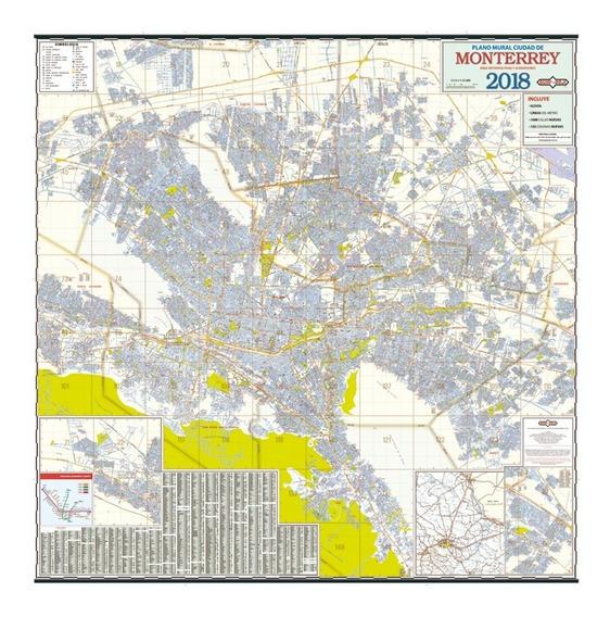 Mapa Mural Ciudad De Monterrey 2018 Plastificado