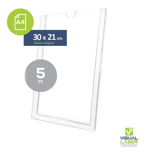 Display De Parede Acrílico A4 Porta Folha 21x30cm 5p Similar