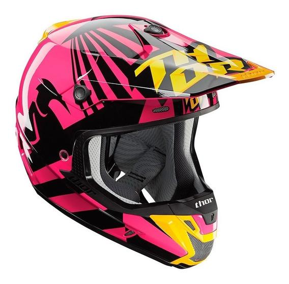 Capacete Motocross Trilha Thor Verge Dazz Rosa E Preto