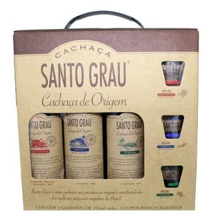 Kit Cachaça Santo Grau Com 3 Garrafas 375ml + 3 Copos Dose