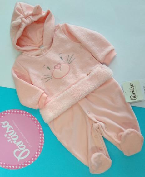 Macacão Bebê Menina Paraíso Rosa Pêssego 9042 Ml64