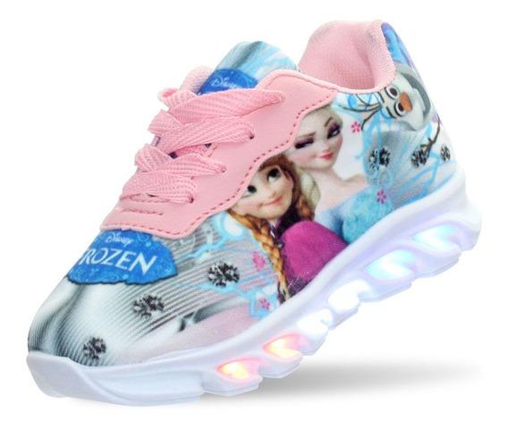 Tenis Led Frozen Infantil Feminino Meninas Barato