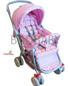 Carrinho De Bebê Berço Passeio C/ Alça Reversível Lilás/rosa