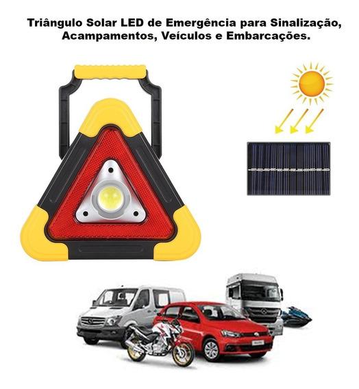 Triângulo Sinalização Led Segurança, Emergência Solar E Usb