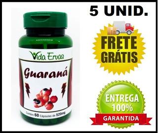 5 Guaraná 60 Cápsulas 500mg Energético + Super Brinde