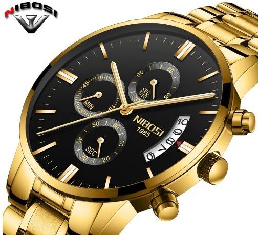 Relógio Unissex Nibosi Serie Ouro Original Excelente