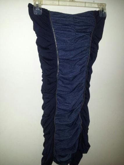 Vestido Straple Strech Azul Marino Talla S 2$