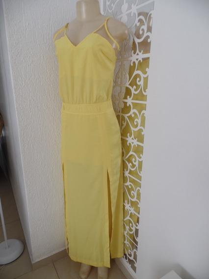 Vestido Longo Amarelo Fendas Tule