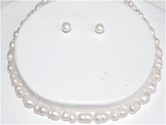 Collar Perla Blanca Cultivada Oferta 13 Mm Doble