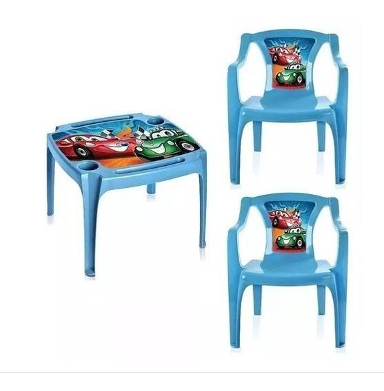 Mesa Infantil 2 Cadeiras Porta Copo Lápis Personalizada Azul