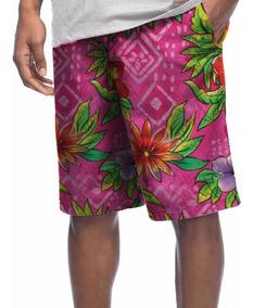 Bermuda Microfibra Shorts Floral Flor Surf Tumblr Rosa Swag